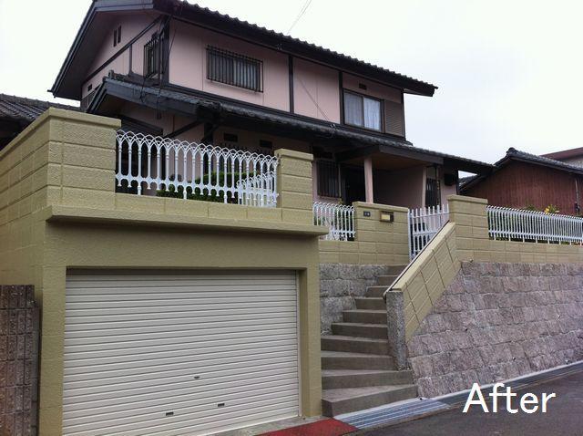 三重県桑名市 I様邸 石垣塀 塗装補修工事